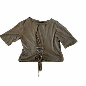 Cotton On :: Tie Front Cropped Olive Green T Shirt